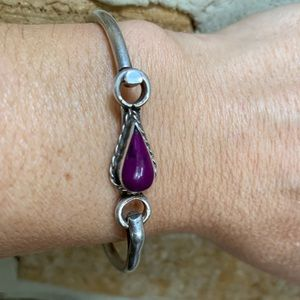 Vintage Sterling Silver & Sugilite Bracelet